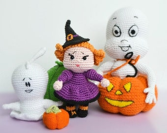 Amigurumi Halloween crochet pattern bundle pack:  witch doll pattern, crochet ghost pattern