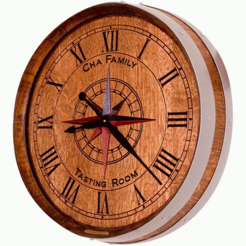 Personalized Wine Barrel Clock-Wine Country Style-Barrel Decor image 0