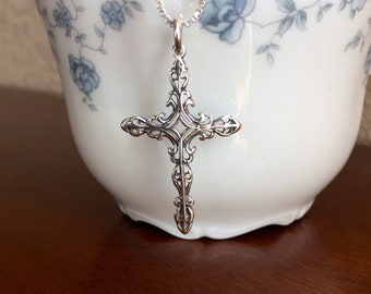 Cross Necklace, Silver Cross Pendant, Chruch Necklace, Faith Necklace,