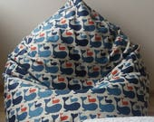 Blue whale bean bag chair for kids - Natural linen beanbag cover - Big floor pillow - Eco friendly pouf - With insert - Fill is not included