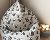 Cute rat bean bag chair, Rustic natural beanbag cover, Pet rat mom gift, Linen mouse floor pillow seating, With cotton insert, No Filler