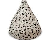 Black kitty cat adult bean bag chair, Cat lover gift, Monochrome beanbag, Natural linen floor cushion, Cotton insert, No Filler