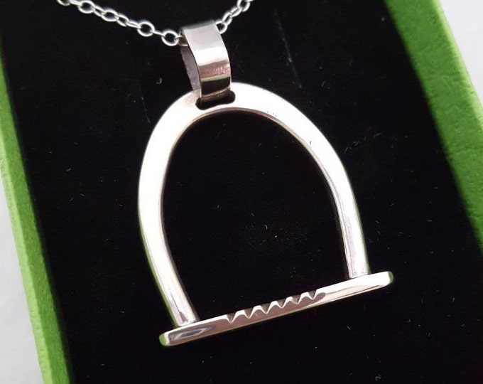 Stunning Sterling Silver Riding Stirrup Design Pendant. 40mm High by 30 mm Wide