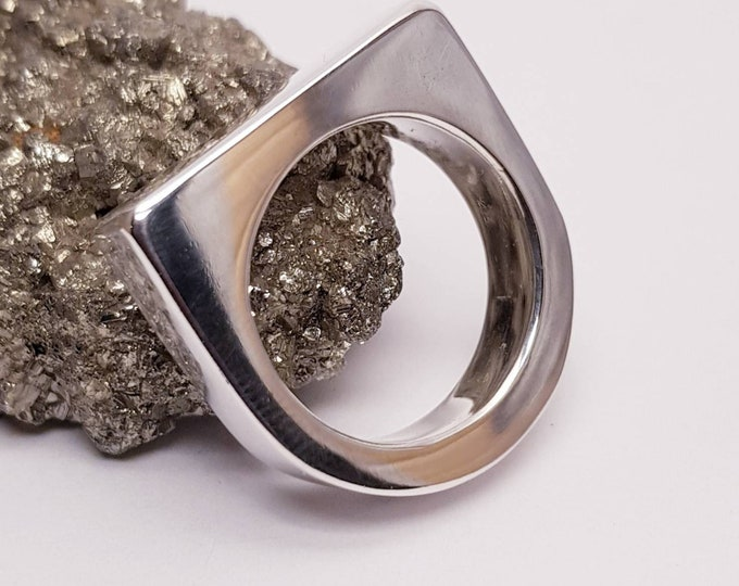 Contemporary Chunky Unisex Sterling Silver Ring.