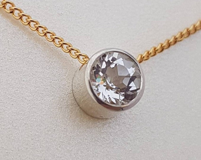 Stunning 9ct White Gold and Moissanite Pendant on a Yellow Gold Chain