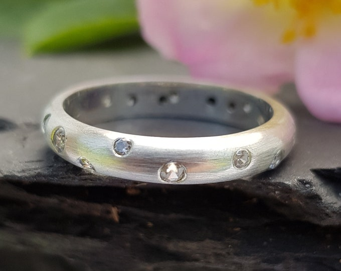 4mm Wide 9ct White Gold Engagement  / Eternity Ring with 2mm & 1.5mm  Flush Set White Diamonds (G/ VS2)