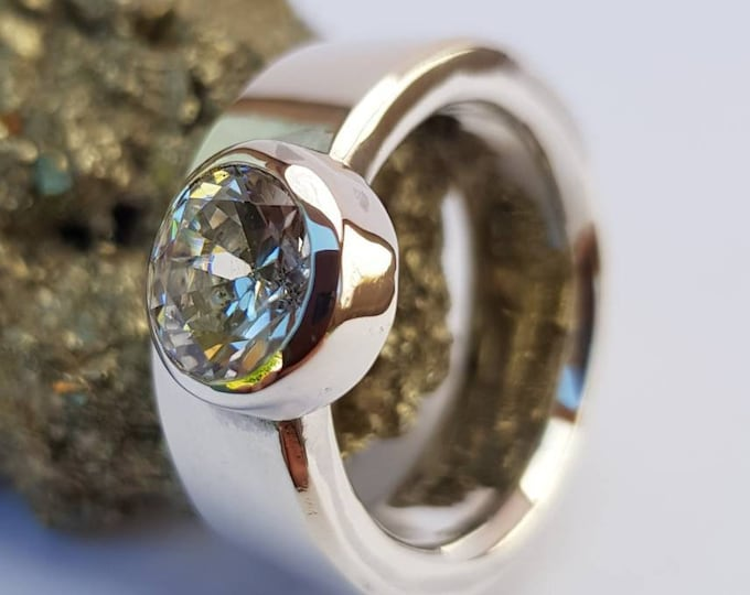 Contemporary 8 mm Wide (3mm Thick) Band Sterling Silver Ring with Hand Set Thick Walled Bezel Set Offset Facetted Moissanite