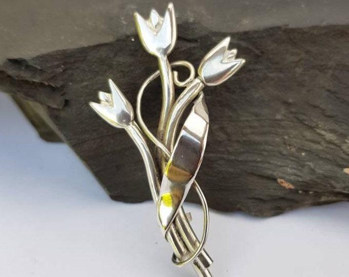 Stunning Handmade Sterling Silver Tulips Brooch / Pendant