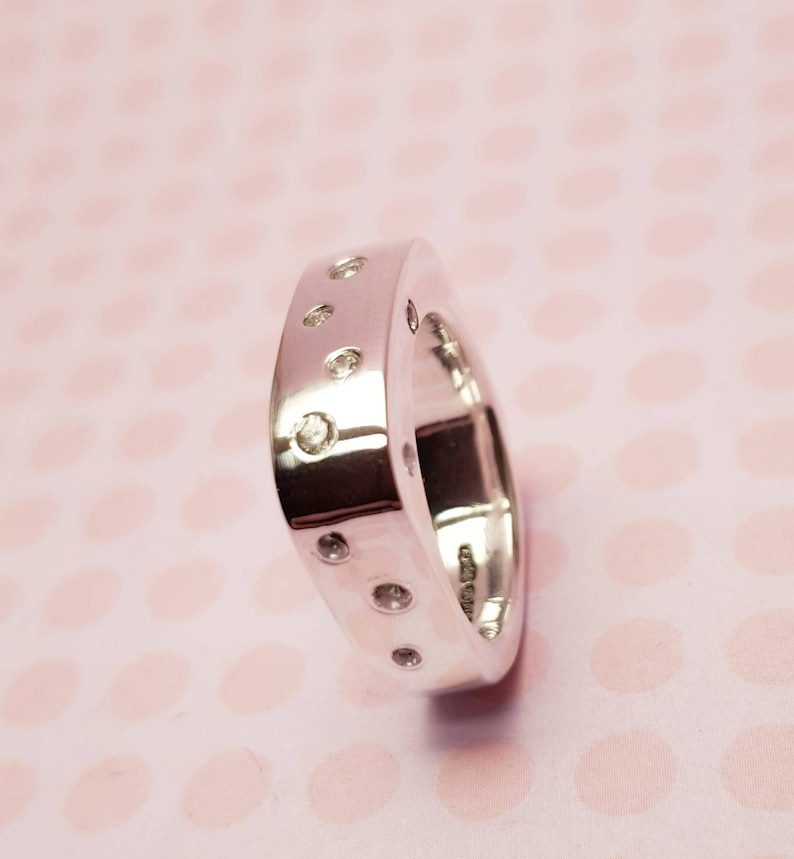 Contemporary Custom 6mm Wide Band Sterling Silver Ring with Wave Pattern  2mm Facetted Lab Created Diamonds /& 5mm Central stone
