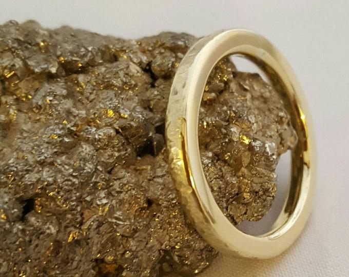3mm Wide Hammered Stirling Silver Wedding Ring