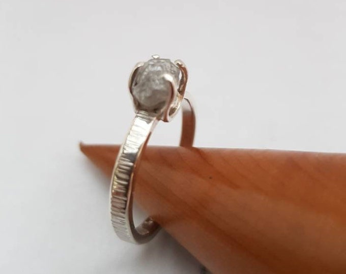 """Stunning Sterling Slimline Silver Ring with Higher Quality 1ct to 1.75 ct Raw Uncut Diamond.  """"Bark"""" Effect Textured Band."""