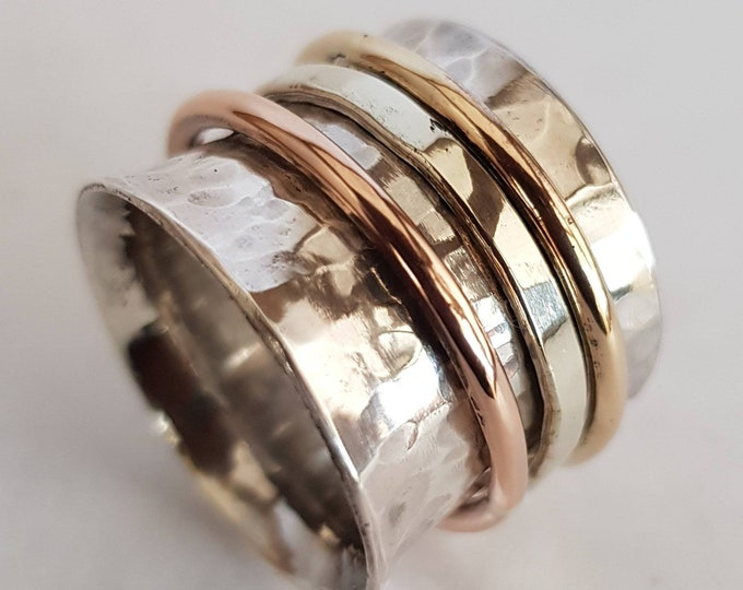 Unisex Sterling Silver 15 mm Wide Meditation / Fiddle Spinner Ring with White, Yellow and Rose Gold Spinners .  With Engraving