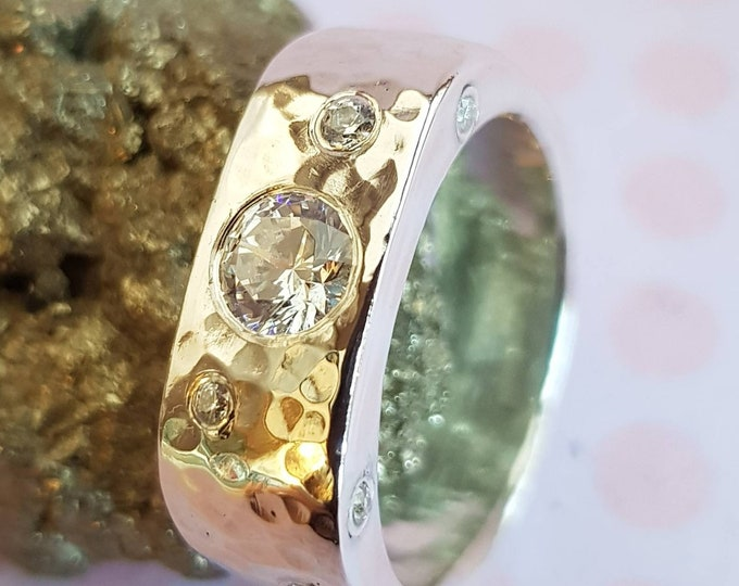 """Contemporary Custom 6mm Wide Band Sterling Silver Ring with Large 4mm central Moissanite &""""Wave"""" Pattern 1.5 and 2mm Facetted Moissanites"""