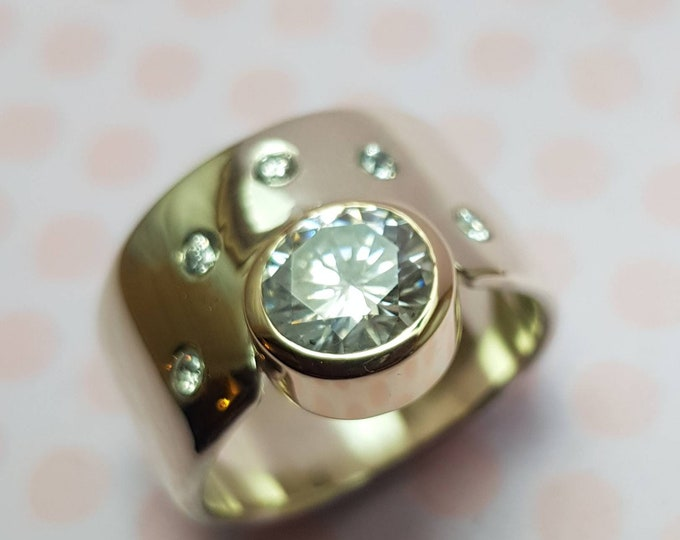 Contemporary Custom 12mm Wide Band Sterling Silver Ring with Tube Set 8mm Facetted Moissanite  in 9ct Yellow Gold Bezel