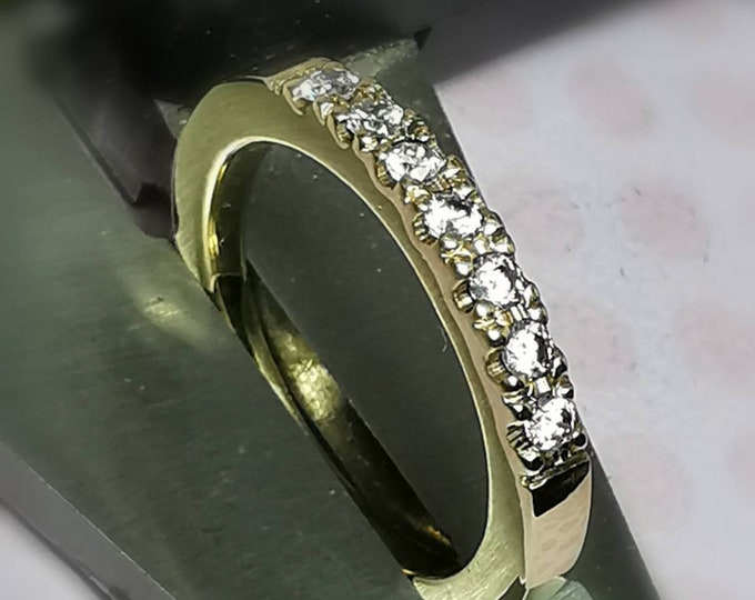 3mm Wide 9ct Yellow Gold Engagement  / Eternity Ring with 2mm  Grain Set White Diamonds (G/ VS2)