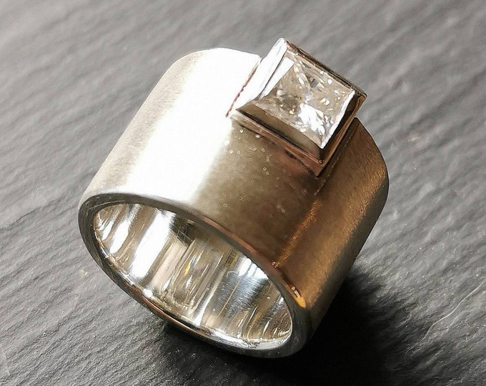 Contemporary 15mm Wide Band Sterling Silver Ring with 6mm Facetted Square White Moissanite