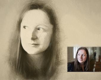 Custom Portrait Pencil Sketch from Photo