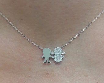 Boy and Girl Sterling Silver Necklace