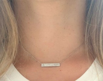 1259 Horizontal Bar Necklace Silver Bar Necklace Bar /'Diamond Bar/' Silver Bar Necklace Pendant RHODIUM Plated Pave Bar Connector