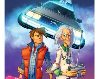 """Back To The Future Print Marty McFly and Doc Brown and the Delorean Time Machine Cartoon 11"""" X 17"""", Back To The Future Art, Wall Art"""