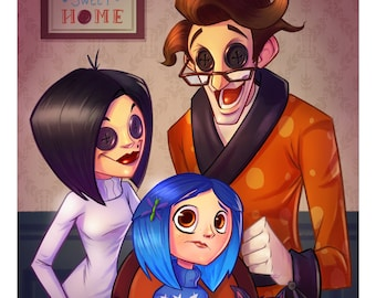 """Coraline and Her """"Other"""" Family Portrait 11X17 Inch Print"""
