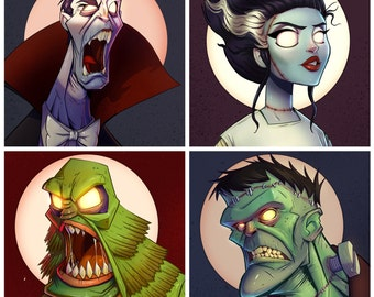 4 Pack of 8X8 Inch Classic Monster Prints
