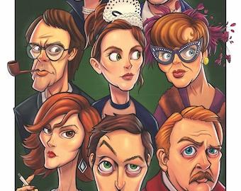 "Who Dunnit?? Clue Movie Print, Clue Board Game, Cult Movie, Movie Poster, Fan Art Cartoon 11"" X 17"" Inches, Clue Art, Clue Wall Art"