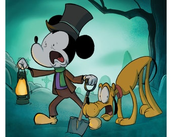 Haunted Mansion Caretaker Mickey Mouse and Pluto 8x8 inch