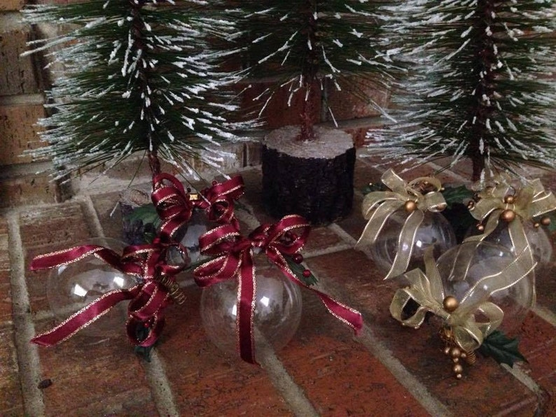 3 Handmade Vintage Ornaments Clear Glass With Ribbons And Etsy