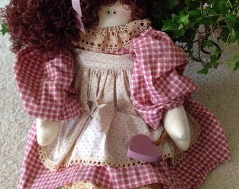 """CLEARANCE Vintage 19"""" Cloth Doll with """"Hair"""" in Mauve and Cream Dress With Apron (1990's)"""