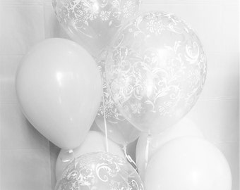 White Balloons,Clear Damask Latex Balloons Birthday Bridal Decorations Supply
