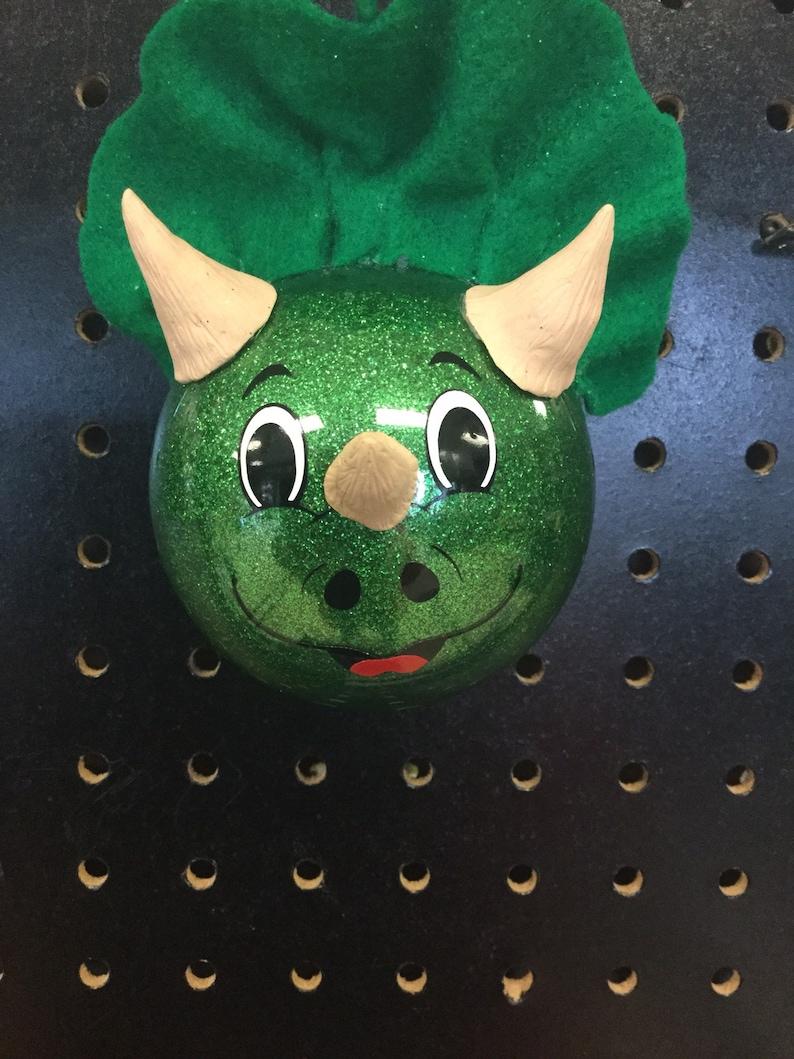 Christmas Tree Ornament Glitter,Boy Gift Custom Ornament Dinosaur Personalized Triceratops Dino