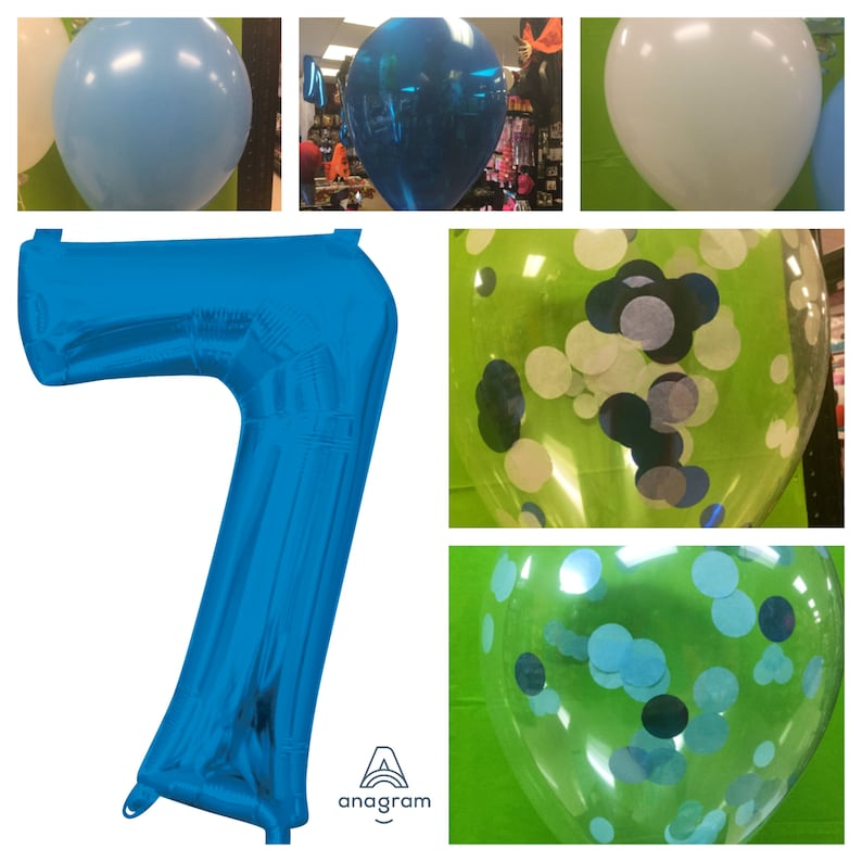 Big 7 Balloon Number Blue Confetti Balloons 7th