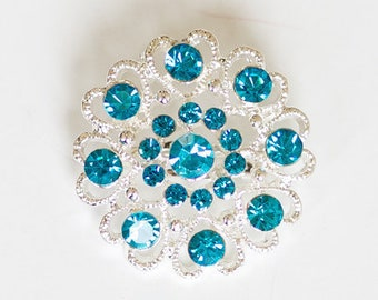 Turquoise blue brooch, rhinestone brooch, silver plated broach, blue brooch pin, silver brooch, diy brooch bouquet, brooch pin, malibu blue