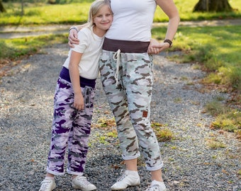 Mommy and me matching drop crotch pants sewing pattern