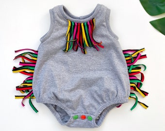 Bubble fringe romper sewing pattern
