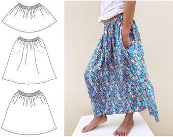 Mini Midi Maxi skirt sewing pattern 1Y - 12Y