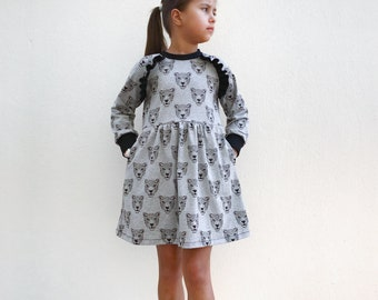 Girls raglan dress sewing pattern