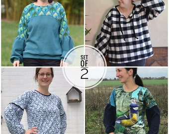 Bundle cosy sleeves sewing pattern oversized and regular fit