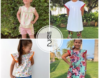 Bundle angel sleeve top - tunic- dress sewing pattern for woven and knit