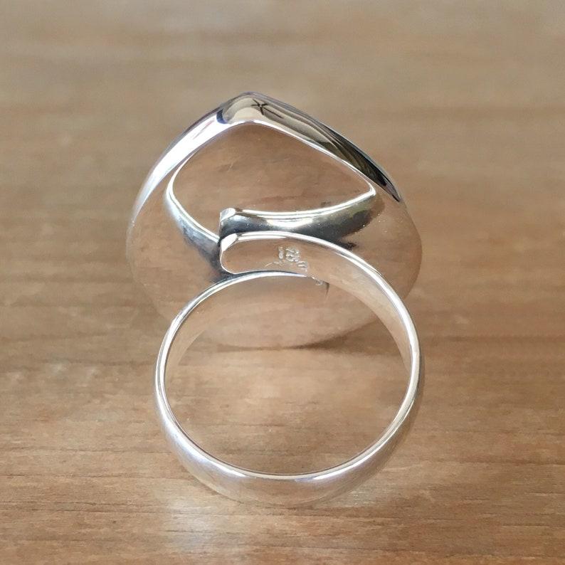 925 Silver Ring Fluorite Ring Large Teardrop Ring Purple Fluorite Ring Gemstone Ring Adjustable Ring Fluorite and Sterling Silver Ring