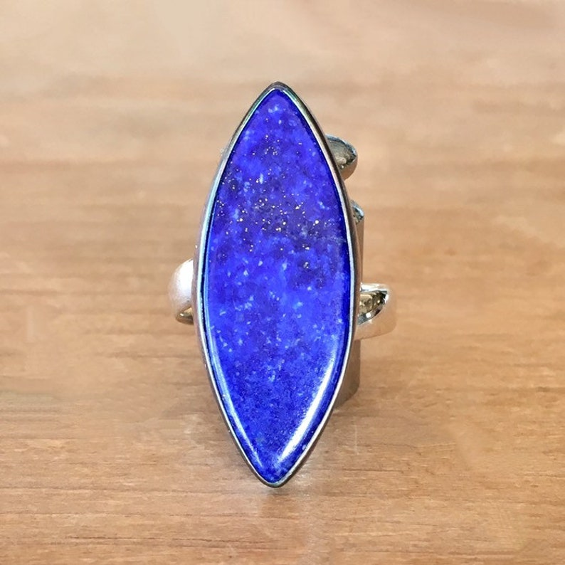 Lapis Lazuli and Sterling Silver Ring Adjustable Ring Lapis Lazuli Marquise Ring Statement Lapis Ring Blue Stone Ring Large Lapis Ring