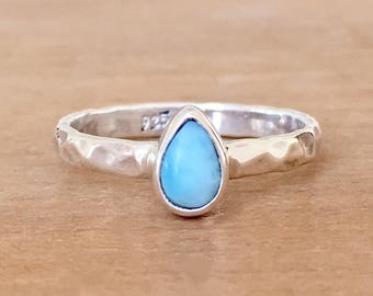 Larimar Stacking Ring, Larimar Ring, Larimar and Sterling Silver Ring, Hammered Silver Ring, Teardrop Stack Ring, Dainty Larimar Ring