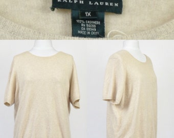 "VINTAGE ""Lauren by Ralph Lauren"" 100% cashmere short sleeved oatmeal jumper M"