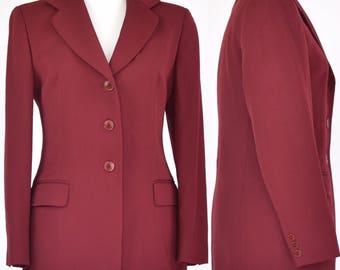 VINTAGE 80s Aquascutum burgundy blazer jacket size 12-14