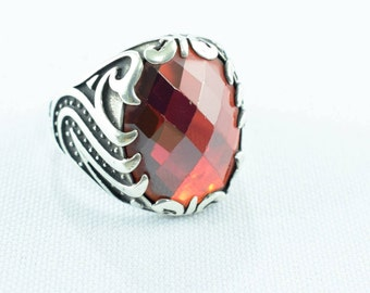 Ethnic ring Sterling silver-type seal with coral stone