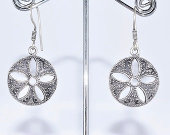 Ethnic Silver earrings round pierced tribal flower