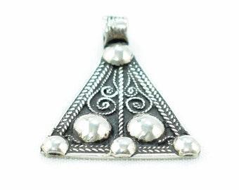 Pendant Boho Silver Tribe Berber tribal triangle 4.2 x 3.4