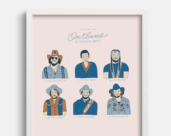 Outlaws of Country Music, Country Music Decor, Gifts for Him, Hank Williams Jr Art, Johnny Cash Art, Waylon Jennings Art, Willie Nelson Art