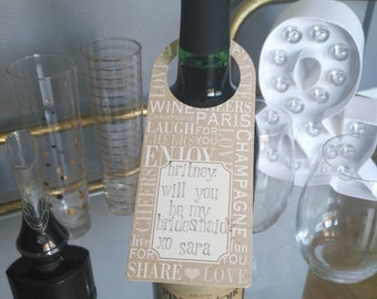 Will you be my bridesmaid // Will you be my maid of honor // wine tag // bridesmaid proposal // bridesmaid gift // proposal card // wine